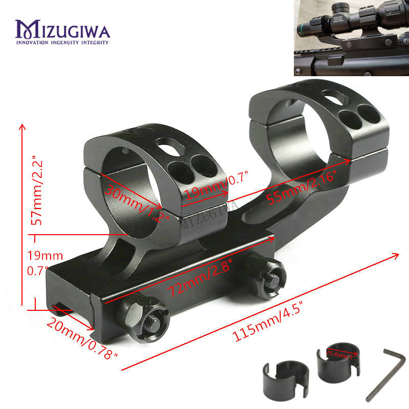 MIZUGIWA Tactical Heavy Duty Cantilever Scope Mount 25.4mm 1