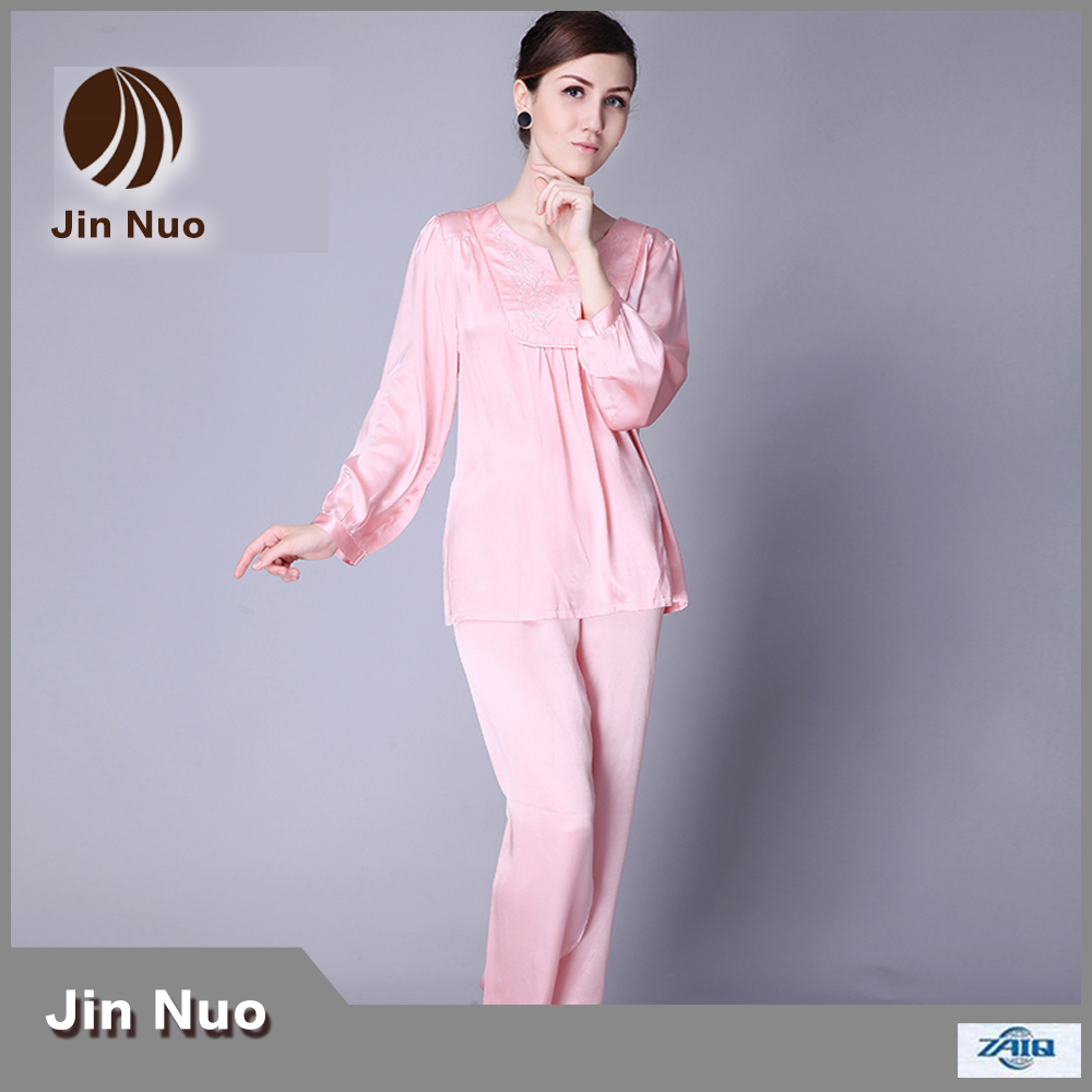 Jinnuo New Style Fashion And Luxury Long Sleeve 100 Pure Silk Pajamas With Embroidery In Pajama