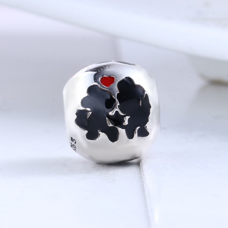 100% 925 Sterling Silver Fit Original Pandora Bracelet Enamel Black Mickey Minnie Love DIY Charms Beads for Jewelry Making Gift
