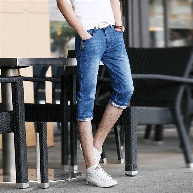 282ba0a4bb8b UNIVOS KUNI 2018 New Summer Men s 7 Pants Jeans Korean Version Of Slim Teen  Denim Pants Daily Casual Pants Print Mens Pants H150