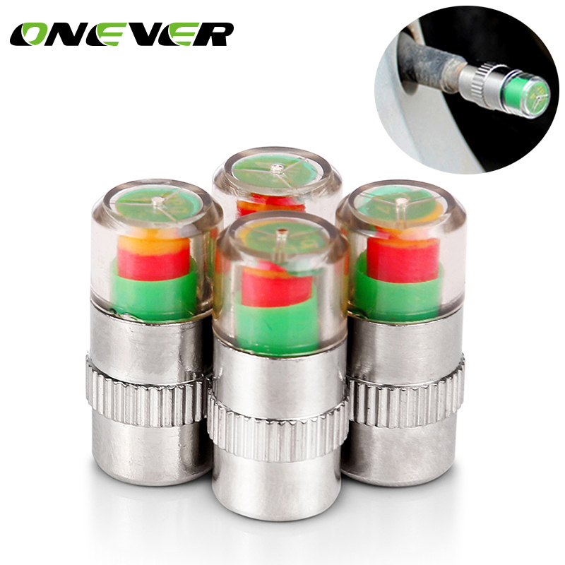 Onever 4pcs/set Tire Pressure Monitor Valve Stem Cap Air Warning Alert Valve Pressure Diagnostic Tools Kit Sensor Indicator Bar