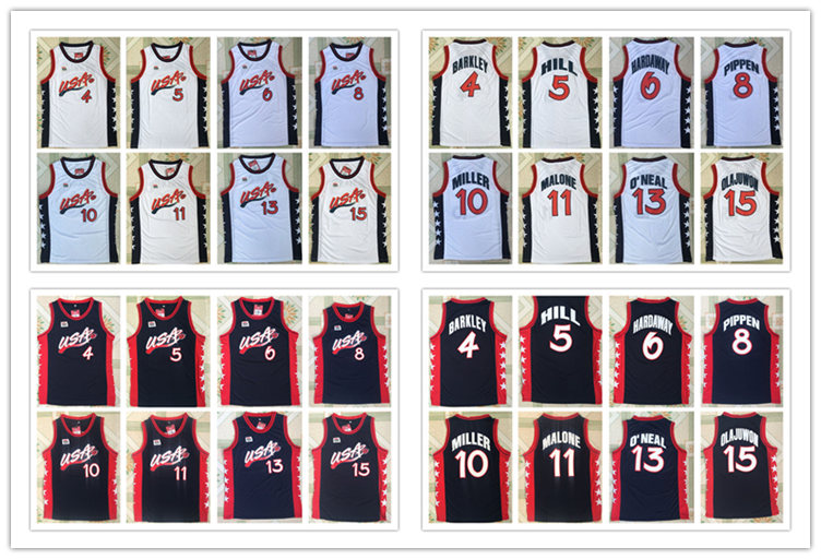 1996 Atalanta Usa Dream Team 6 Hardaway 5 Hill 10 Miller 4 Barkley 8 Pippen 11 Malone 13 O'neal 15 Olajuwon Basketball Jersey