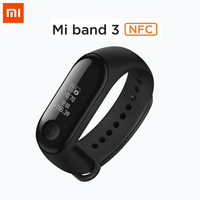 Original Xiaomi Mi Band 3 NFC Version Smart Wristband 0.78 OLED Touchscreen 5ATM Swim Reject Call Pulse Heart Rate Step Time