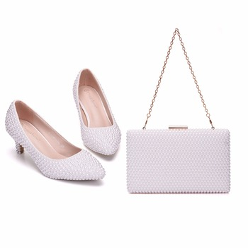 Crystal Queen White Pearl Wedding Shoes Bridal Women Heels Evening Party High Heel With Matching Bags With Purse Dress Shoes