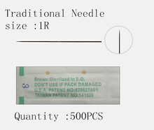 Fresshipping 500pcsTraditional 0.35x50mm 1R Professional Sterilized Eyebrow Eyeliner Lip Tattoo Needle For Permanent Makeup