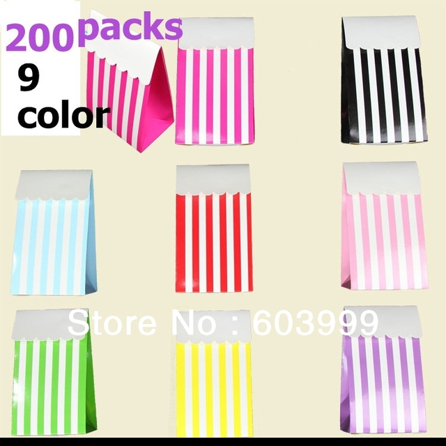200 Pack Candy Stripe Treat Bo Party Favor Buffet Lolly Bags