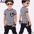 hot selling retail cotton kids boy and girl summer suit striped t-shirt + marine design pants 2pcs clothing set 2colors