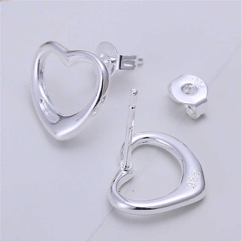 Брендовый маленький Гладкий сережки-гвоздики в форме сердца из чистого серебра 925 пробы для женщин и девочек, детские мини-минималистичные ювелирные изделия
