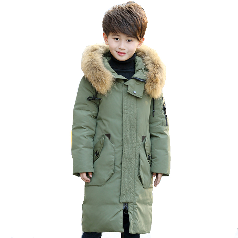 Thick Warm Down Jackets -30 Degree Winter Boys And Girls Duck Down Coats Children Natural Fur Long Outerwear Kids Hooded Clothes buenos ninos thick winter children jackets girls boys coats hooded raccoon fur collar kids outerwear duck down padded snowsuit