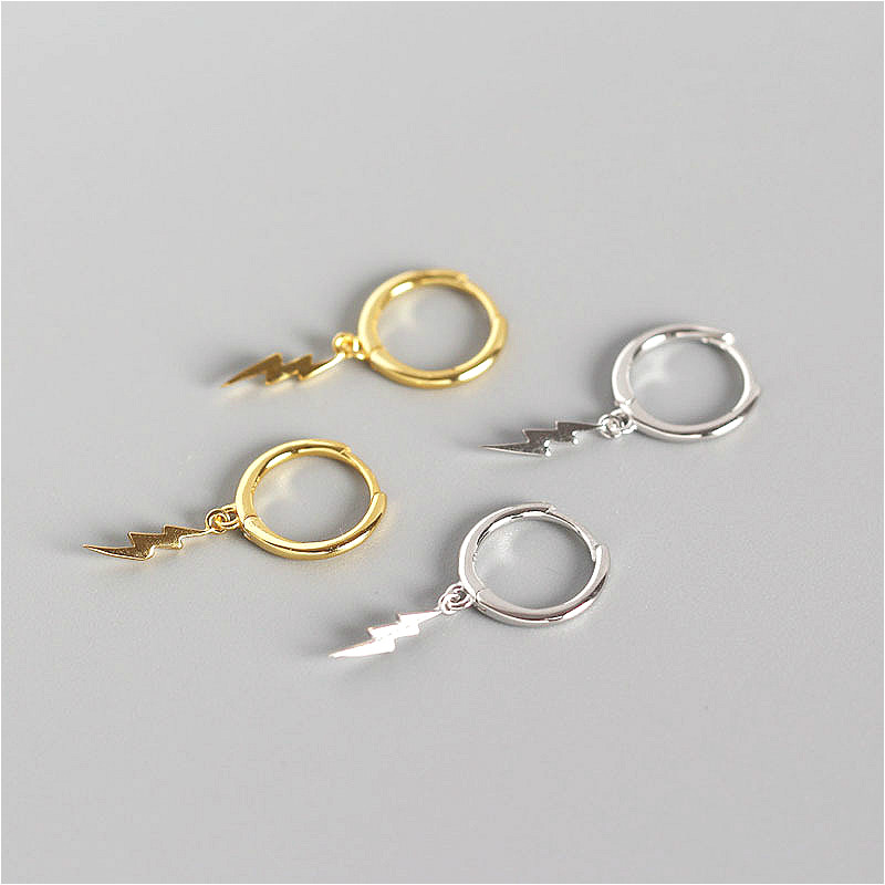 Fengxiaoling 100% 925 Sterling Silver Simple Lightning Round Drop Earrings For Women High Quality Earings Fashion JewelryFengxiaoling 100% 925 Sterling Silver Simple Lightning Round Drop Earrings For Women High Quality Earings Fashion Jewelry