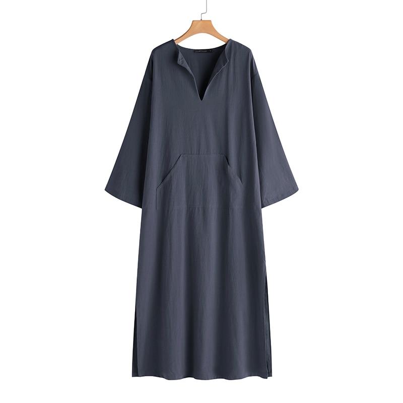 Women Vintage Maxi Long Dress 19 Celmia Summer Autumn Sexy V Neck Long Sleeve Split Casual Loose Linen Vestidos Kaftan S-5XL 14