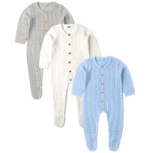 Baby Girls Rompers Long Sleeve Knitted Toddler Boys Overalls Jumpsuits Autumn Winter Children Clothes Solid Color Playsuit 0 24m