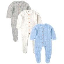 Bebek Kız Tulum Uzun Kollu Örme Yürümeye Başlayan Tulum Tulumlar Sonbahar Kış Çocuk Giyim Katı Renk Tulum 0 24m