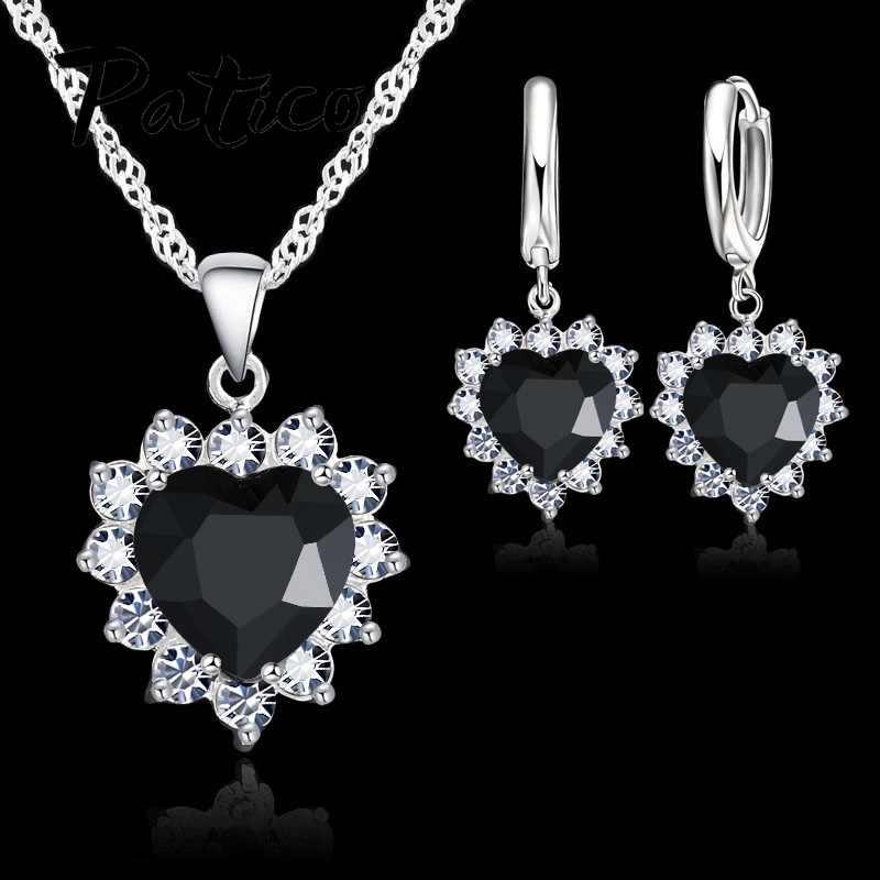 2019 neue Ankunft 925 Sterling Silber Zirkonia Herz Anhänger Halskette Ohrring Schmuck Sets Für Frauen Hochzeit Geschenke