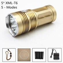 Высокий яркий 5000lm 5 х Cree xm-l T6 светодиодный фонарик 3 Режима Факел Кемпинг свет лампы 4×18650 батареи AC Зарядное устройство