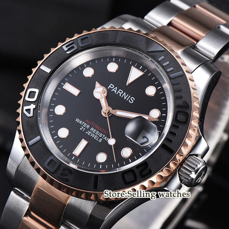 41mm Parnis New Sapphire black Dial Black Ceramic bezel Miyota 8215 Automatic Men Watch