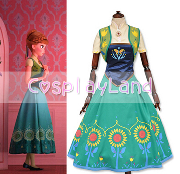Princess Anna Cosplay Costume Adult Fever Party Dresses for Women Halloween Party Cosplay Costume