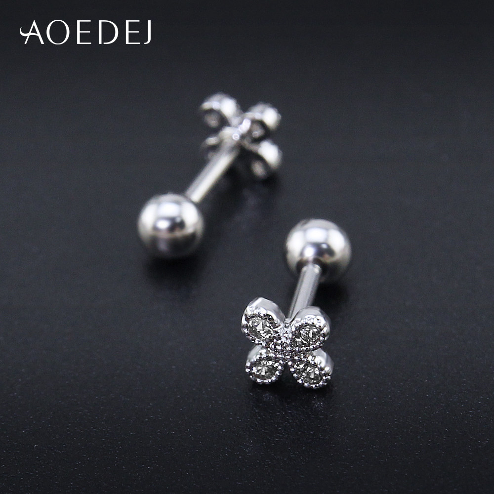 Aoedej Four Leaf Clover Cubic Zirconia Earrings Studs Women Stainless Steel For S Crystal Oorbellen Voor Vrouwen In Stud From Jewelry