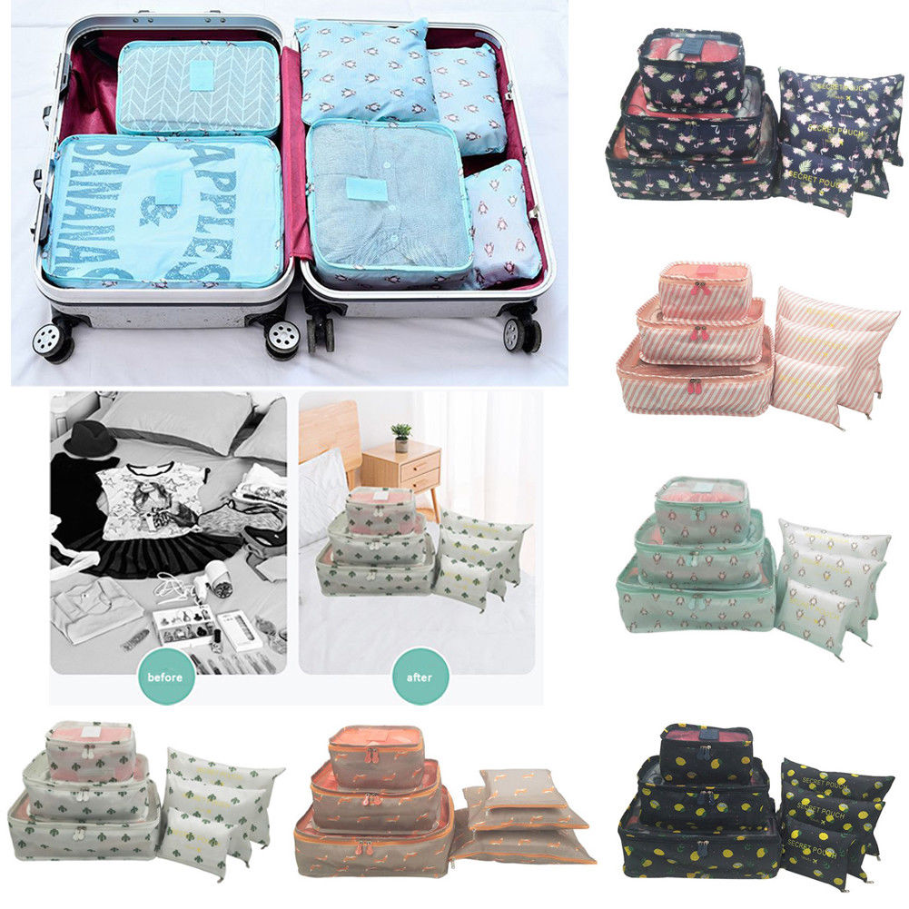 Set 6pcs Fabric Clothes Travel Storage Bags Packing Cube Luggage Toiletry Bag