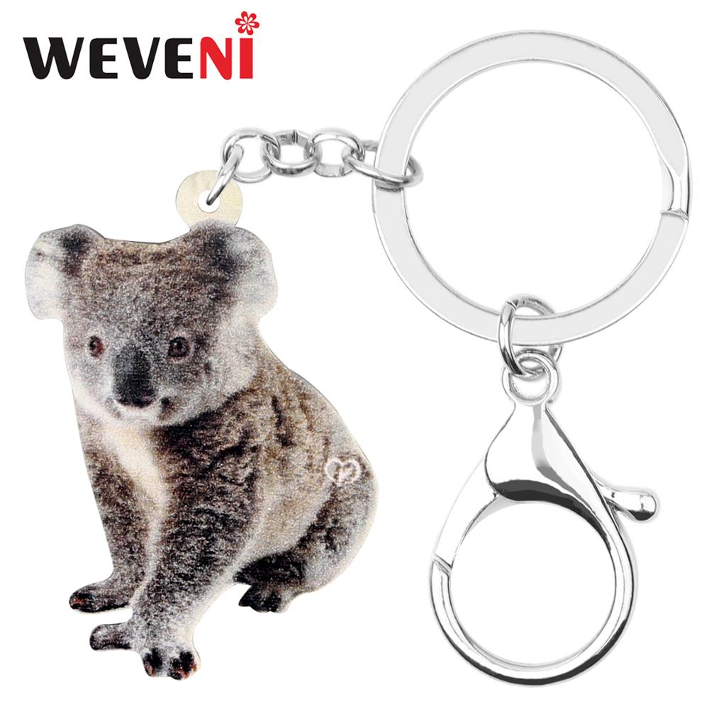 WEVENI Acrylic Australia Sitting Koala KeyChain Key Rings Funny Animal Jewelry For Women Girls Teens Charms Gift Decoration