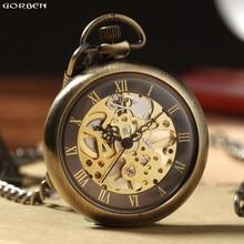 Nova venda quente retro bronze números romanos relógio de bolso mecânico para homem mulher com corrente fob esqueleto mão liquidação bolso relógio
