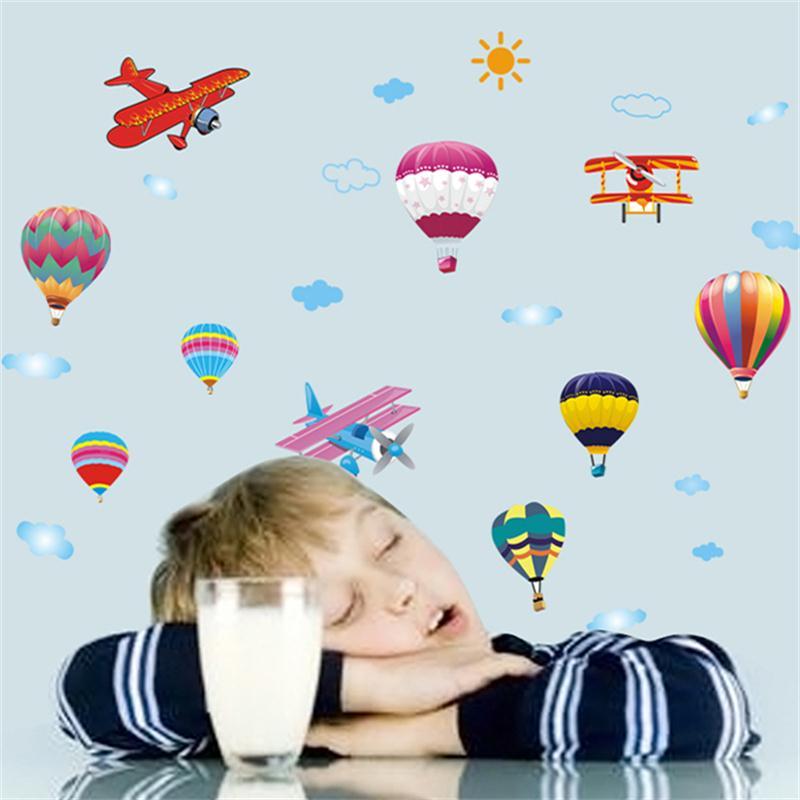Горячий воздух воздушный шар самолета Наклейки на стену DIY коробки Домашний Декор Наклейка росписи для детей Детские Аксессуары