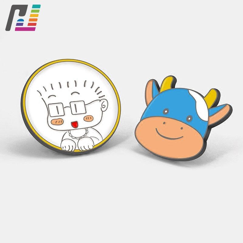 Cute Cartoon Child Cow Brooch Lapel Pin for Boys Girls Gift Custom Designed Metal Soft Enamel Pin Badge Buy at least 50PCS
