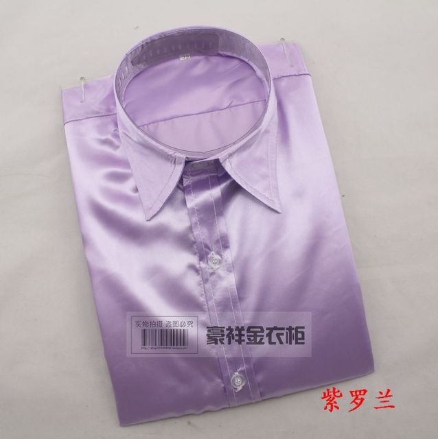 Hot!Colored Men Dress Show Long-sleeved Shirt Pure Color Plate Stage Performance Shirt To Marry The Groom, Holds The Shirt M-XL