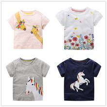 VIDMID girls cartoon t-shirts tees kids short sleeve cotton tees horse and rabbit clothing tops t-shirts for 2-7 years children стоимость