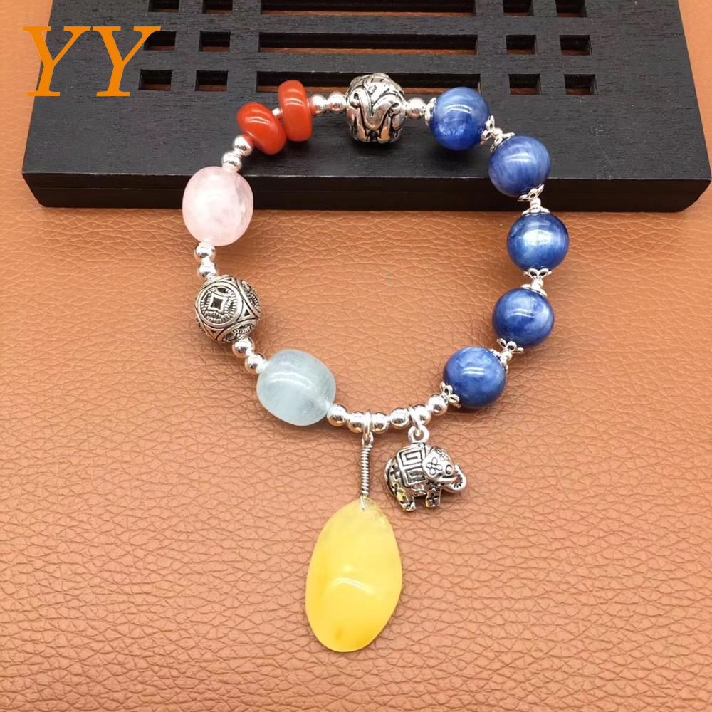 YY Fine Jewelry 925 Silver Natural Stone Amber Kyanite Red Agate Powder Crystal Aquamarine woman boutique Ethnic bracelet gift