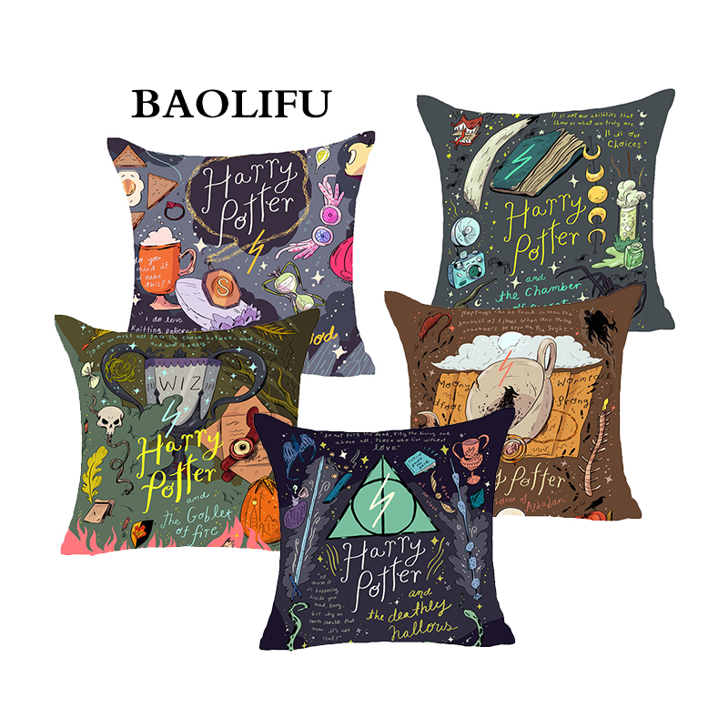 BAOLIFU Harry Potter Style Linen Cotton Cushion Cover Goblet of Fire The Deathly Hallows Pillow Cover Decorative Cushion Cover