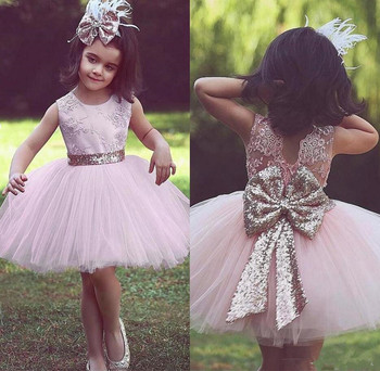Knee-Length Princess Dress with Big Sequined Bow Appliques Cute Flower Girl Dress For Wedding Girls Birthday Gowns Sleeveless
