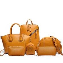Новинка 2019, 6 комплектов кожаных сумок, Женская Офисная сумка, композитная сумка, женская сумка на плечо + дизайнерская сумка + клатчи на каждый день, кошелек
