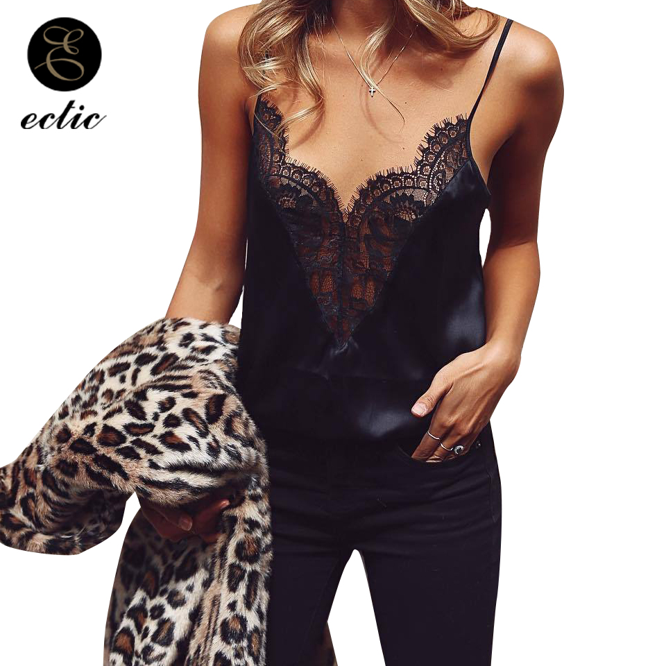 See Through Clothing Vetement <font><b>Femme</b></font> 2019 Black Silk Top Satin <font><b>Debardeur</b></font> <font><b>Femme</b></font> <font><b>Sexy</b></font> Tops For Women Clubwear Tank Top With Lace image