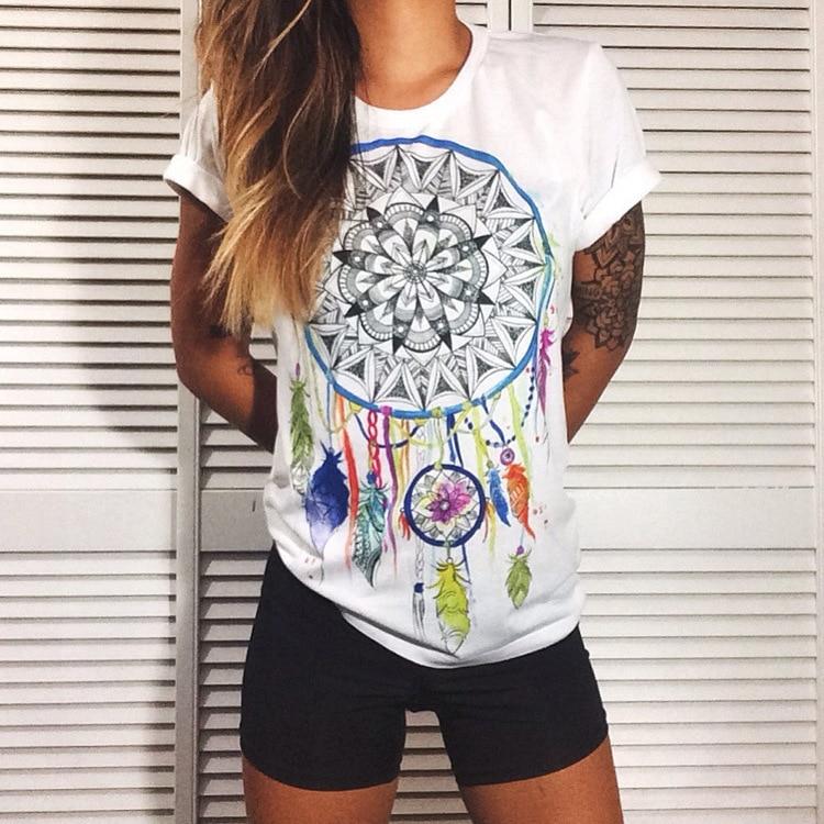 Цветок Pirnted белый футболка большие размеры 100% хлопок белый топ для фитнеса одежда хиппи Wonder Woman женская одежда эмо blusas tumblr