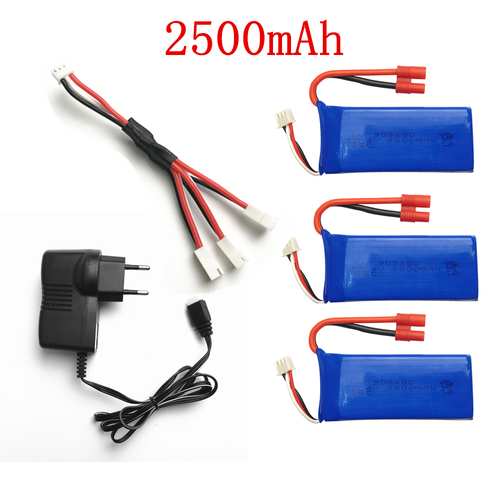 For Syma X8C parts charger battery 7.4v 2500mah for Syma X8W X8G X8HC X8HW X8HG RC Quadcopter spare parts Charger+wire+3*battery hg p401 402 601 1 10 rc car parts 7 4v charger hg cha01