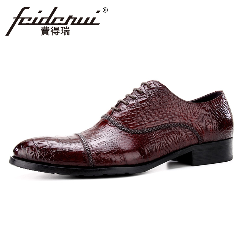 Luxury Designer Genuine Leather Mens Alligator Print Oxfords Formal Dress Round Toe Man Wedding Flats Male Handmade Shoes BQL95