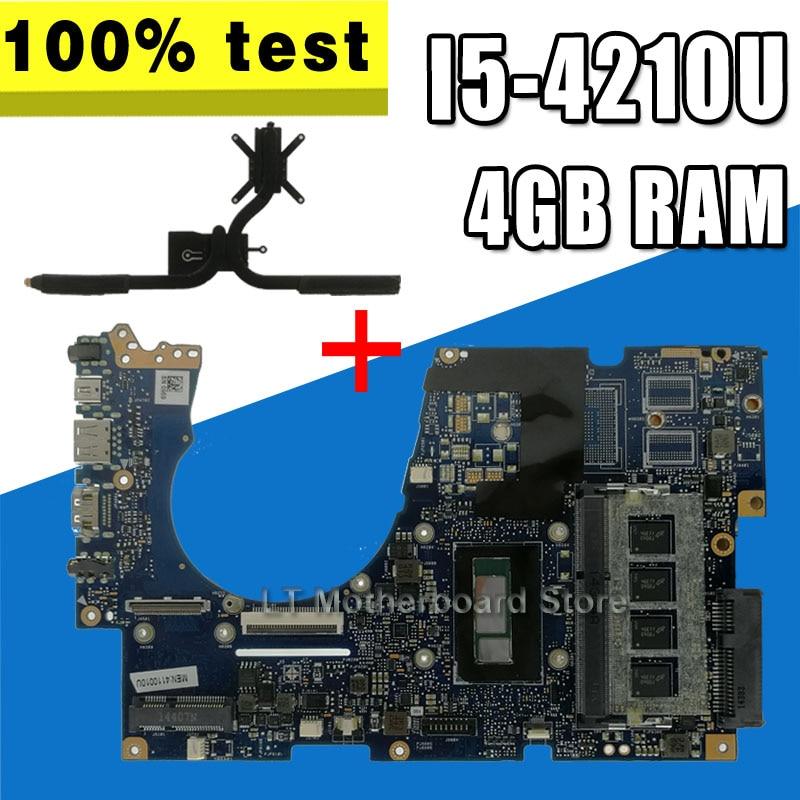 For ASUS UX303UA UX303U UX303UB U303U Laptop Motherboard UX303UA Mainboard Test Ok 4GB RAM I5-4210 CPU +Heatsink