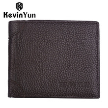 KEVIN YUN fashion genuine leather men wallets slim bifold ID credit card holder purse pocket wallet стоимость