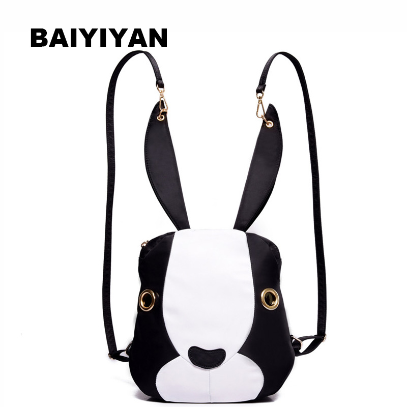 Korean Lightweight Women's Nylon Cute Cartoon Rabbit Backpack Casual Travel Bag Girl's Schoolbag Rucksack