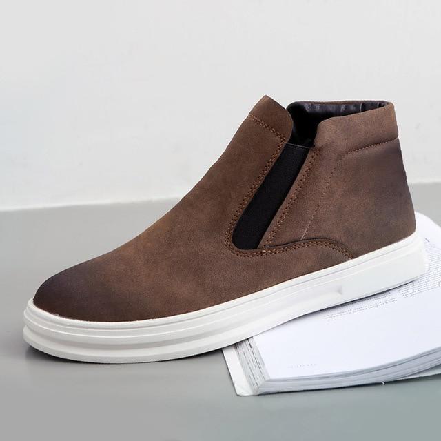 Nuevo 2016 de La Vendimia de Cuero Botas de Los Hombres Botas Chelsea para Caminatas Casuales Ocio Plataformas Cálido Invierno Zapatos de Tobillo Martins Otoño Pisos