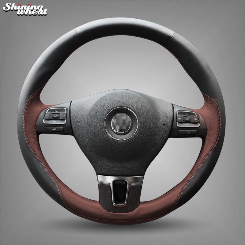 Brillant blé Noir En Cuir Chocolat Couverture de Volant pour Volkswagen Passat B7 CC Touran Magotan Sagitar VW Gol Tiguan