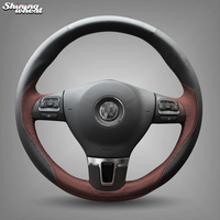 Shining wheat Black Leather Chocolate Steering Wheel Cover for Volkswagen Passat B7 CC Touran Magotan Sagitar VW Gol Tiguan