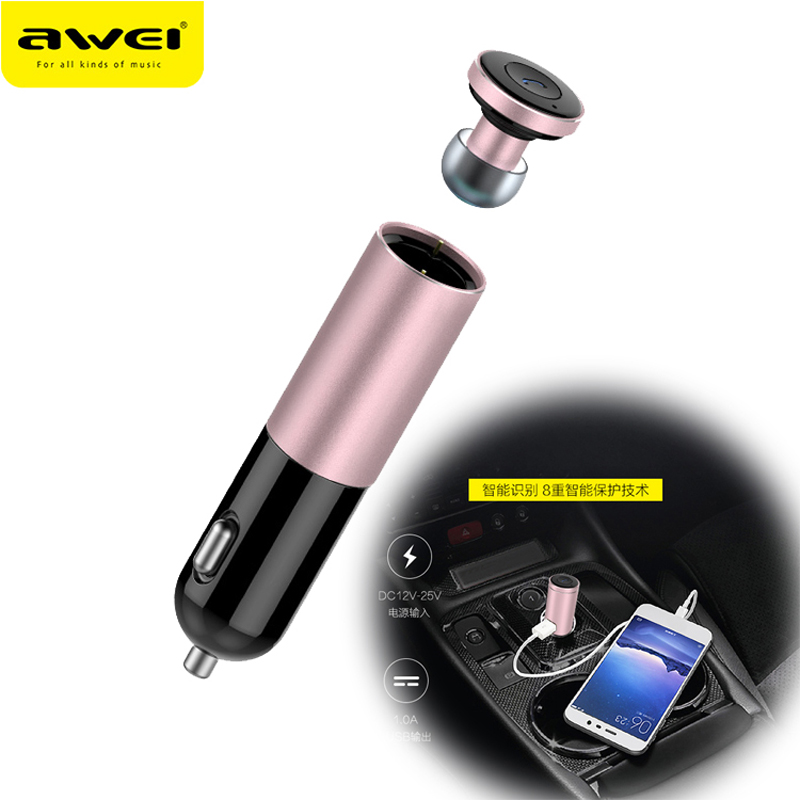 Awei A870BL Hands Free Wireless Headphone Mini Bluetooth Headset Cordless Auriculares Car Phone Charger Earphone For Phone 3in1 mini bluetooth headset kulaklik usb car charger safety hammer micro wireless earphone for samsung galaxy s7 auriculares
