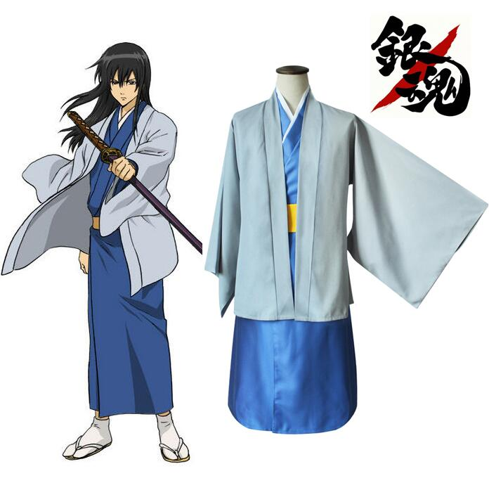 Anime Gintama Silver Soul Katsura Kotarou Kimono Cosplay Costume Full Set Kendo Uniform ( Outerwear + Inner wear + Belt )