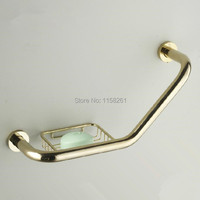 Grab Bars Gold Brass Bathroom Handle Bathtub Armrest Grab Bars With Soap Dishes Home Safety Bar Toilet Elderly Handrail 51 2