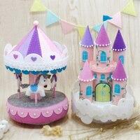 Needle Felt Pack DIY Purple Carousel Music Box Handwork Birthday Gift For Kids Toy Sewing Felt