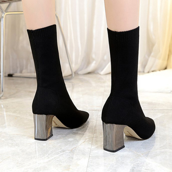 HIBISMIX Women Black Ankle Sock Boots 2019 Fashion Spring Autumn Stretch Boots Chunky High Heels Pointed Toe Women Shoes 1218 1