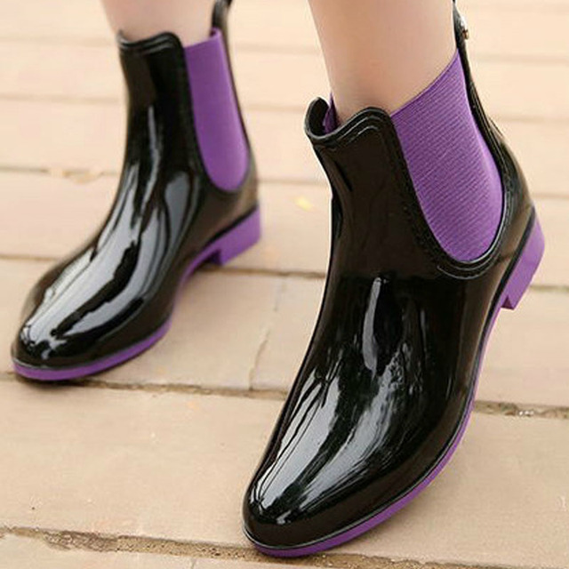 2018 new rain boots U-shaped low-tube fashion water shoes trend Korean version of the low-tube elastic bright women's rain boots
