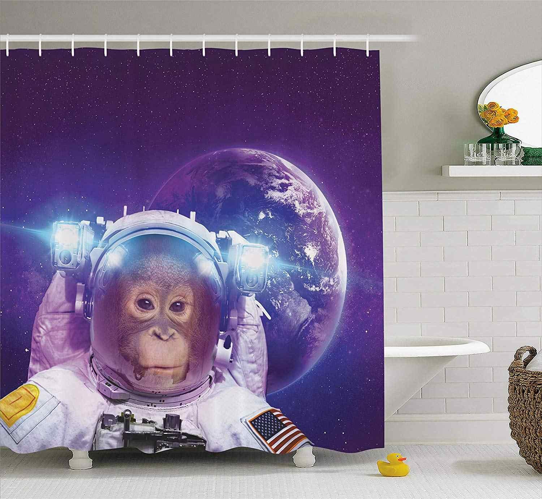 Космический Декор занавеска для душа астронавт обезьяна на космическом пространстве с планетой Земля фон юмором ванна с тканью с картинкой Декор